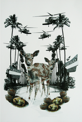 OF DEER AND MEN II | 2009<br>TINTA CHINA Y ACRÍLICO SOBRE PAPEL CANSON<br>164 × 124 CM